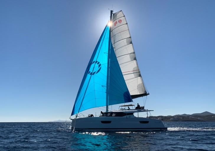 Saona 47 sailing in Lavrion