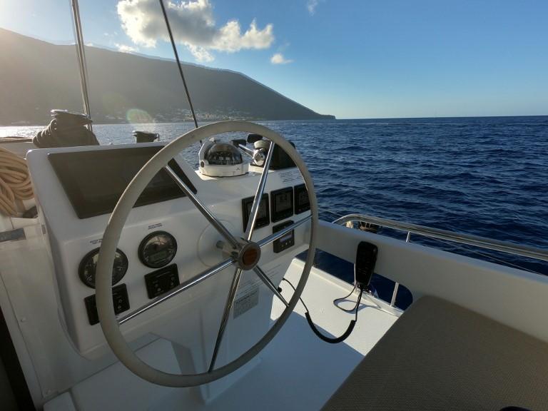 Saba 50 catamaran helm and navigation area
