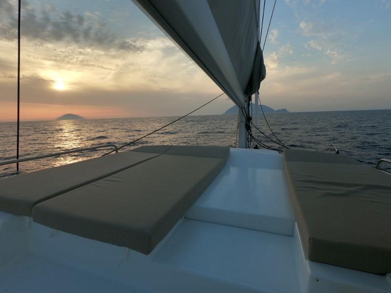 Saba 50 catamaran flybridge lounge in Italy.